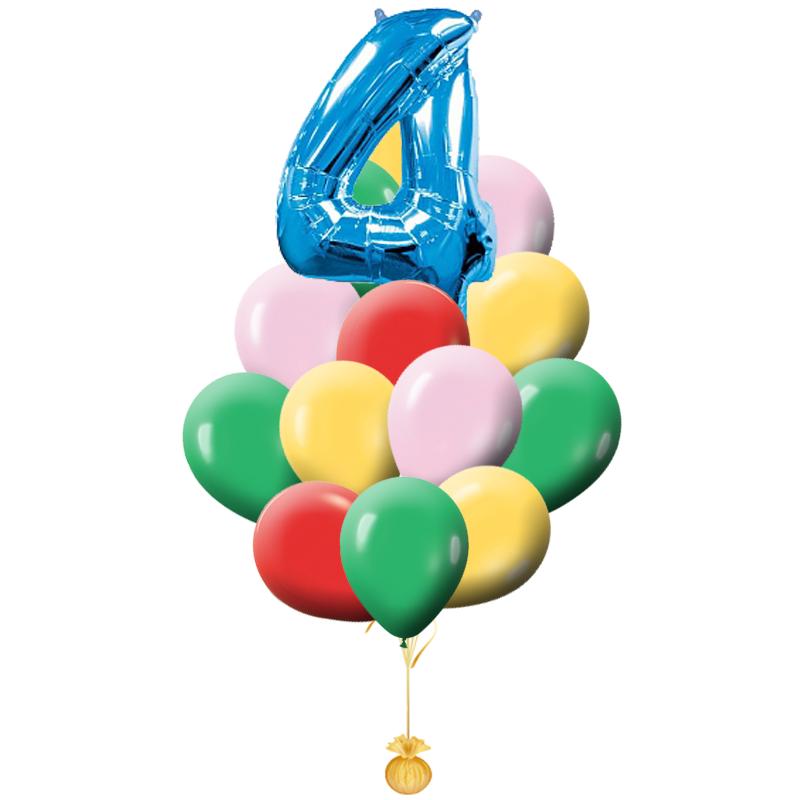 """Букет """"Радуга"""" из разноцветных шариков на день рождения - фото 1"""