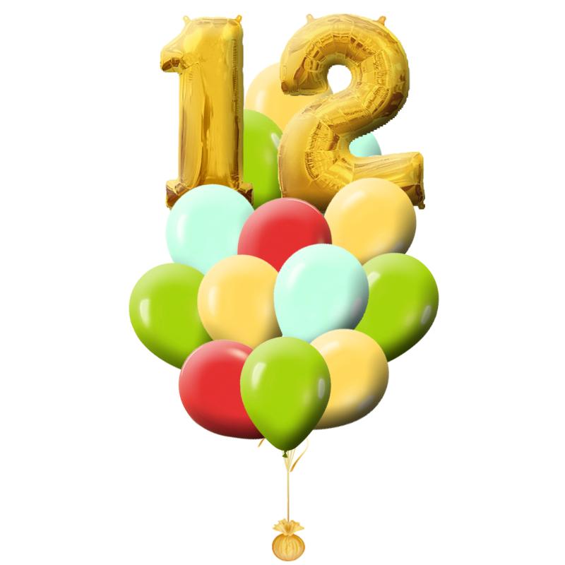 """Композиция """"Краски жизни"""" с фольгированной цифрой на день рождения - фото 1"""
