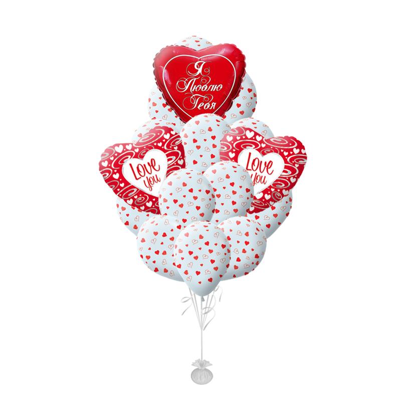 """Букет """"Люблю"""" из 25 гелиевых надувных шариков в подарок - фото 1"""