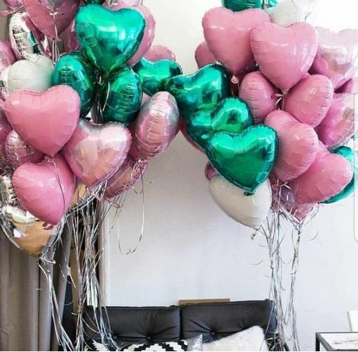 """Букет шаров """"Сладкая вата"""" из 70 фольгированных сердец - фото 1"""