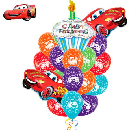 """Набор с поздравлением на день рождения """"Cars"""" с цветными шарами и фольгированной пироженкой - фото 1"""