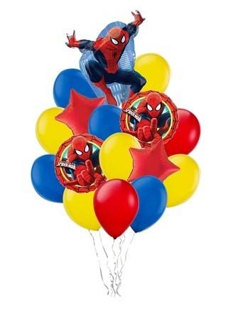 """Композиция """"Человек Паук"""" из разноцветных надувных шариков для мальчика - фото 1"""