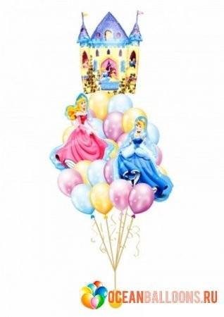 """Композиция """"Волшебный замок"""" из надувных шаров и 3 фольгированных фигур - фото 1"""