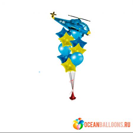 """Композиция """"Летчик"""" на 23 февраля из гелиевых надувных шариков - фото 1"""