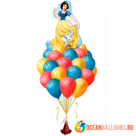 """Набор """"Белоснежка"""" из разноцветных шариков и фольгированной фигуры - фото 1"""