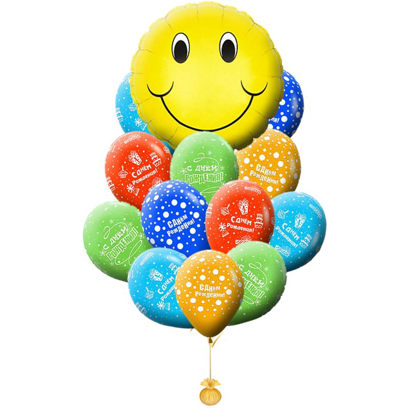 """Букет на день рождениия из гелиевых надувных шариков """"Смайлики"""" - фото 1"""