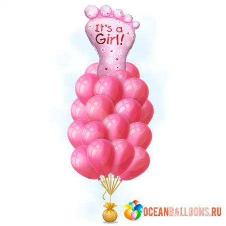 """Композиция на выписку """"Розовое счастье"""" для девочки из гелиевых надувных шариков - фото 1"""