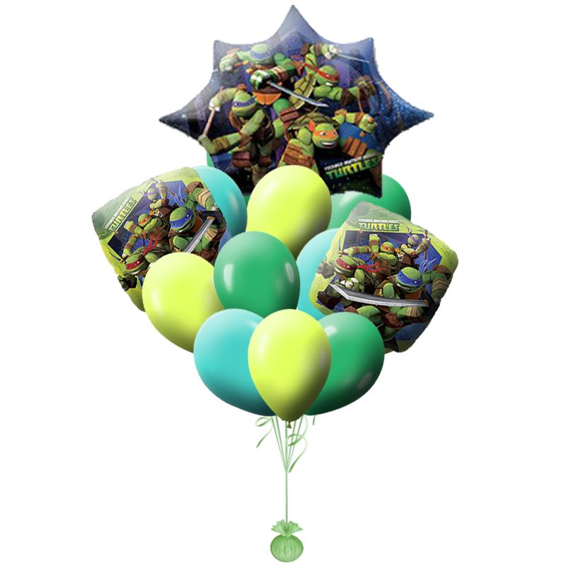 """Композиция """"Черепашки-ниндзя"""" из гелиевых надувных шариков на праздник - фото 1"""