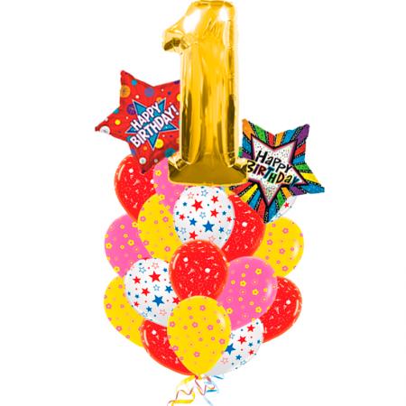 """Композиция """"1 годик"""" из цветных шариков и 3 фольгированных фигур - фото 1"""