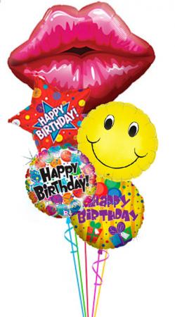 """Композиция """"Kiss"""" из гелиевых шариков в подарок на день рождения - фото 1"""