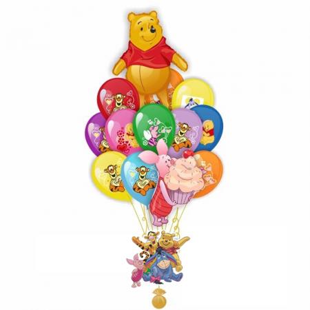 """Композиция """"Винни и его друзья"""" из 23 гелиевых надувных шариков - фото 1"""