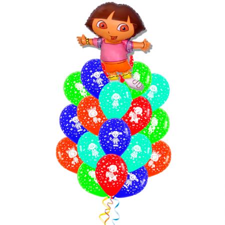 """Букет """"Даша"""" из разноцветных шариков и фольгированной надувной фигуры - фото 1"""