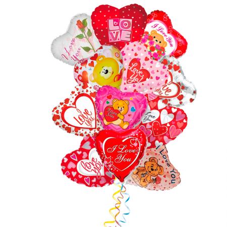 """Композиция из 15 шаров """"Пылкое признание"""" в подарок на 8 марта - фото 1"""
