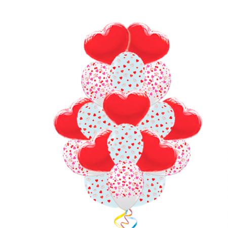 Подарок любимой девушке из 70 шариков в букете - фото 1