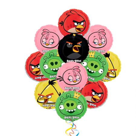 """Композиция """"Angry Birds"""" из разноцветных надувных шариков - фото 1"""