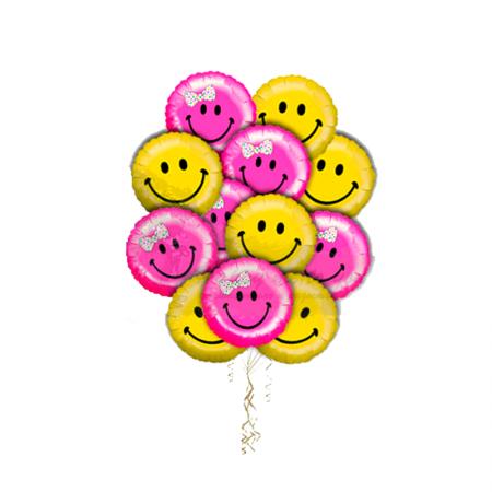 """Композиция """"Улыбнись"""" из 10 гелиевых фольгированных шариков - фото 1"""