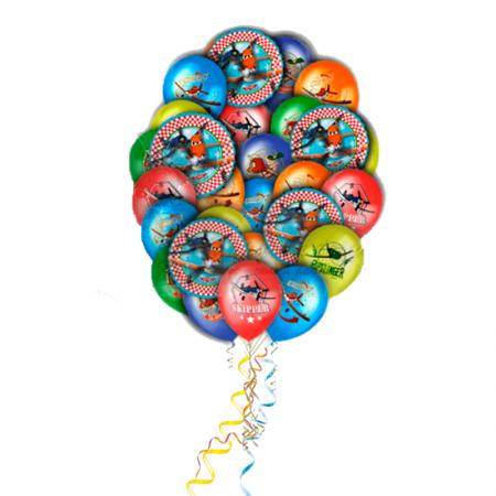 """Набор """"Самолеты"""" из 23 гелиевых надувных шариков в подарок - фото 1"""