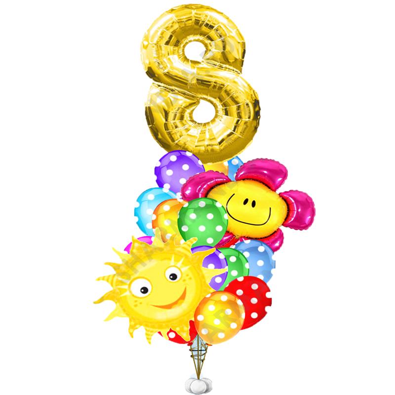 """Букет """"Ты мое солнышко"""" из 23 разноцветных шариков - фото 1"""