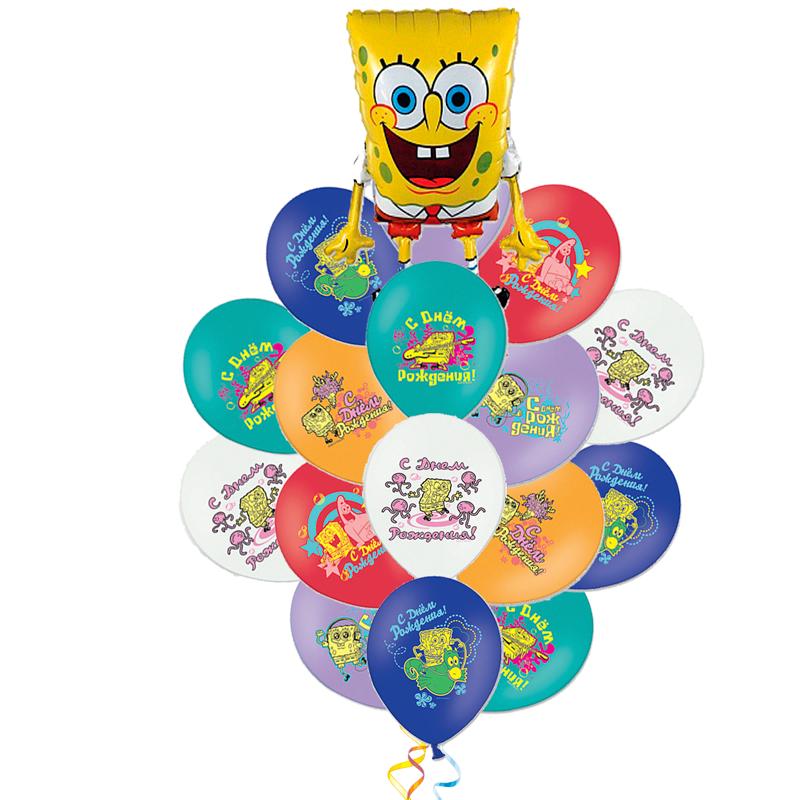 """Набор """"Губка Боб"""" из разноцветных шариков и фольгированной надувной фигуры - фото 1"""