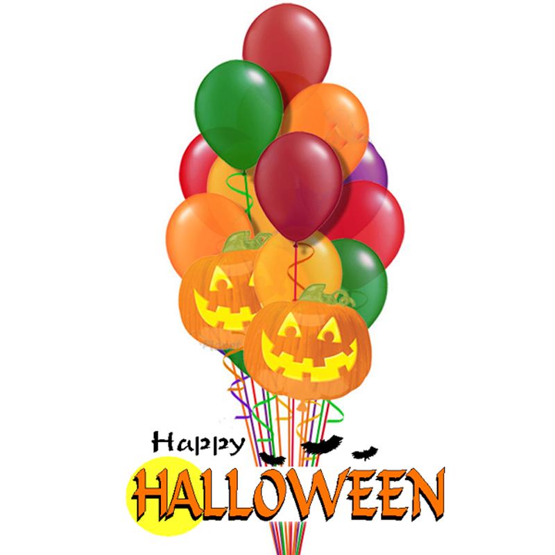 """Набор """"Тыковка"""" из цветных надувных шариков на Хеллоуин - фото 1"""