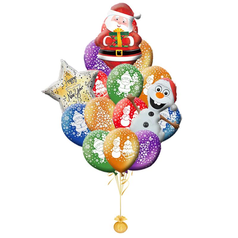 """Новогоднее поздравление """"Санта и Олаф"""" из гелиевых надувных шариков - фото 1"""