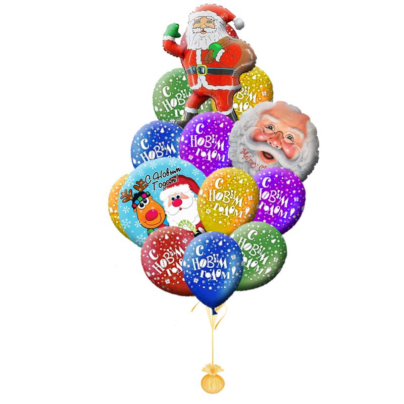 """Новогодний букет """"Санта"""" из 20 гелиевых разноцветных шариков - фото 1"""