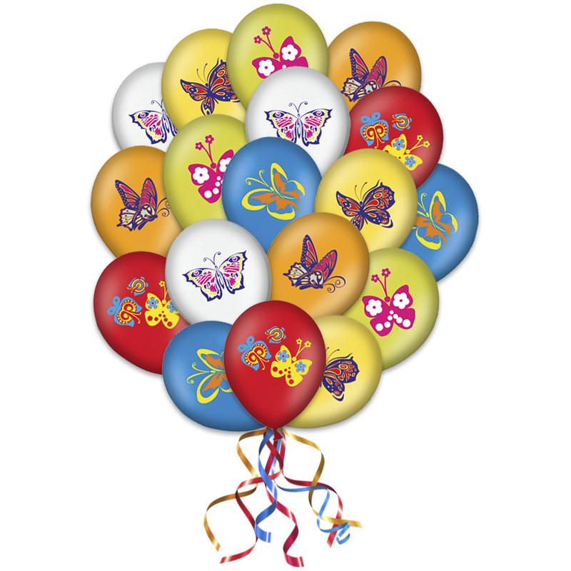 """Композиция """"Бабочки"""" из 30 разноцветных шаров - фото 1"""