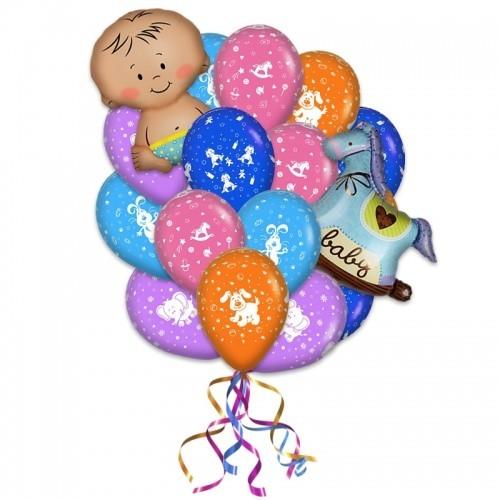Композиция на выписку для мальчиков из 25 разноцветных шариков и 2 фольгированных надувных фигур - фото 1