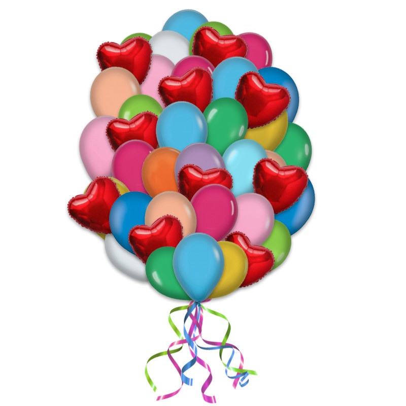 """Букет """"Наши сердца"""" из гелиевых надувных шариков - фото 1"""