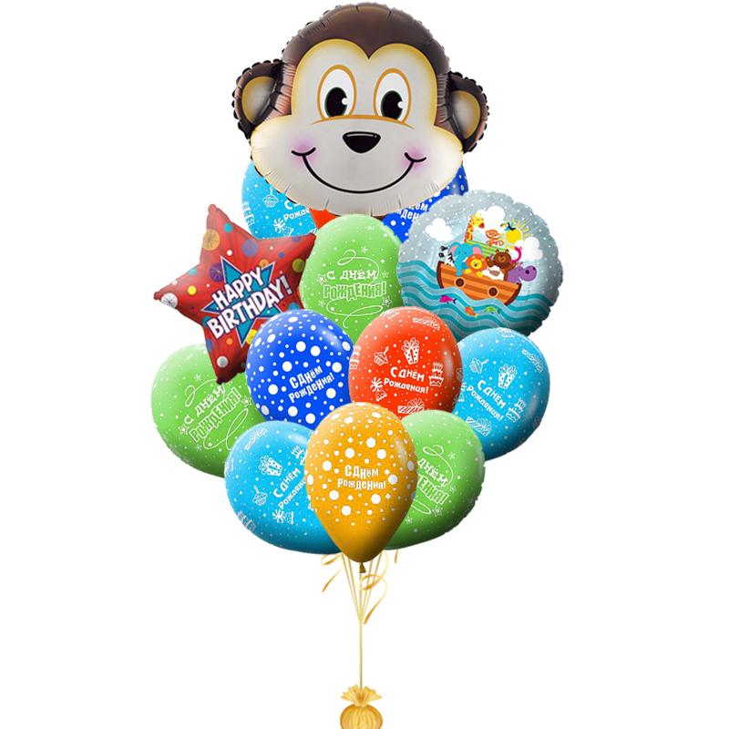 """Воздушные шарики в букете """"Обезьяна"""" в подарок на день рождения - фото 1"""