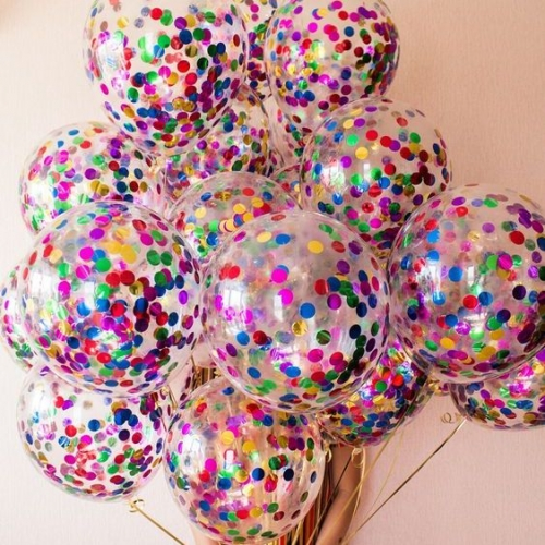 Гелиевые шары с разноцветным конфетти Ассорти - фото 1