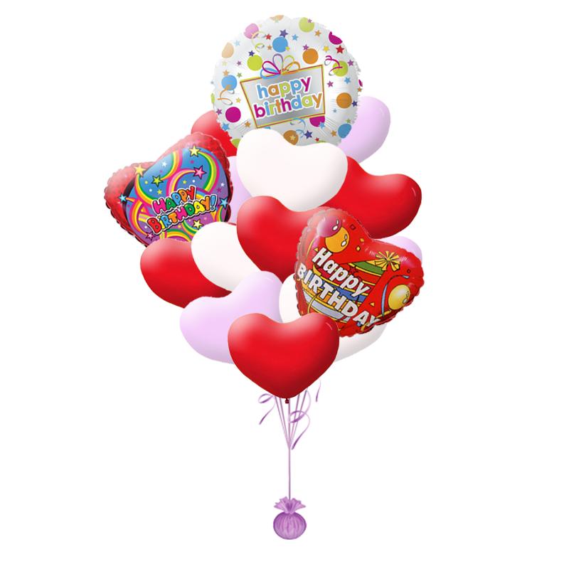 Подарочный букет на день рождения из гелиевых шаров в форме сердца - фото 1