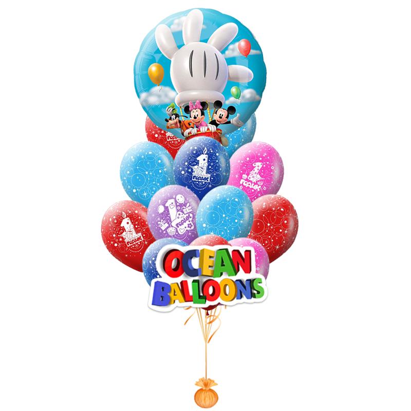 """Набор """"Герои Диснея"""" с поздравлением на 1 годик из разноцветных шариков - фото 1"""
