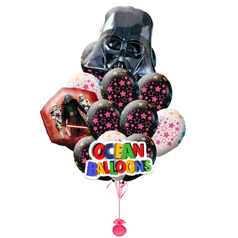 """Набор """"Star Wars"""" из черно-белых надувных шариков с звездами и 2 фольгированных фигур - фото 1"""
