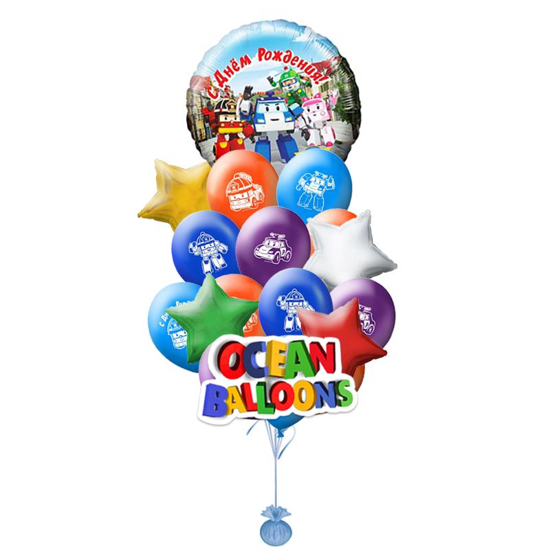"""Набор-поздравление """"Поли"""" на день рождения из цветных надувных шариков - фото 1"""