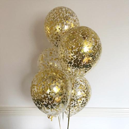 Прозрачные шары с конфетти золото - фото 1