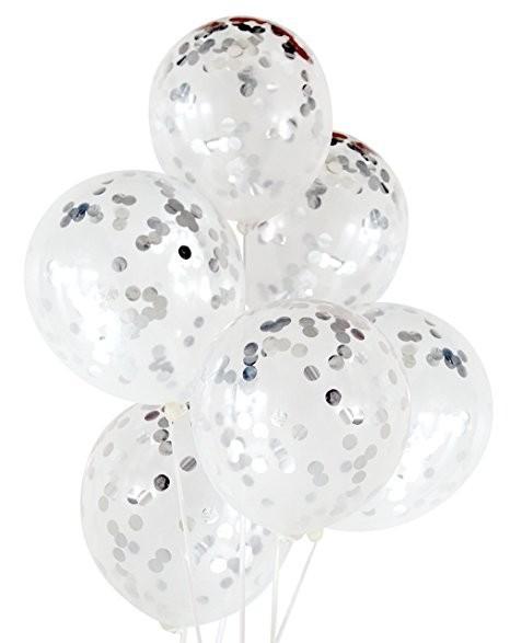Прозрачные гелиевые шары с конфетти серебро - фото 1