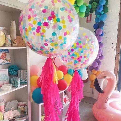 Большой шар-гигант с конфетти Ассорти и лентой тассел - фото 1
