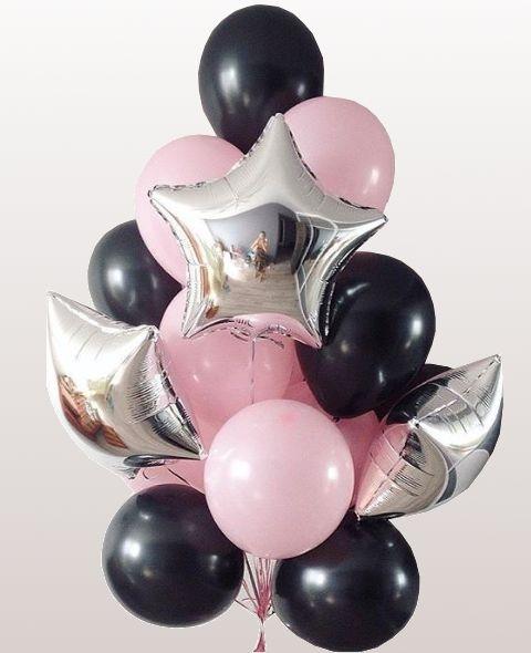 """Облако из 25 шаров """"В ночи"""" в черно-розовой гамме - фото 1"""