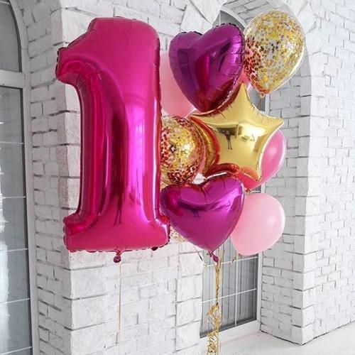 """Композиция из шариков """"Годик"""" на первый день рождения девочке - фото 1"""