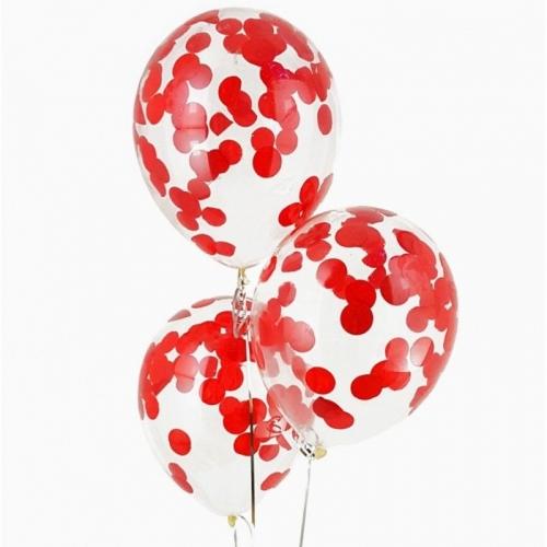 Прозрачные гелиевые шары с конфетти красные - фото 1