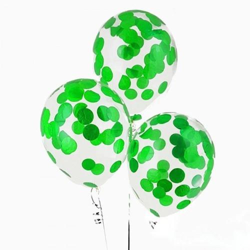 Воздушные гелиевые шары с конфетти зеленые - фото 1