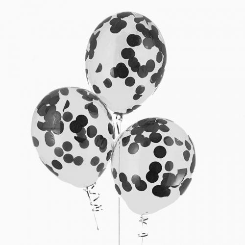 Воздушные гелиевые шары с конфетти черные - фото 1