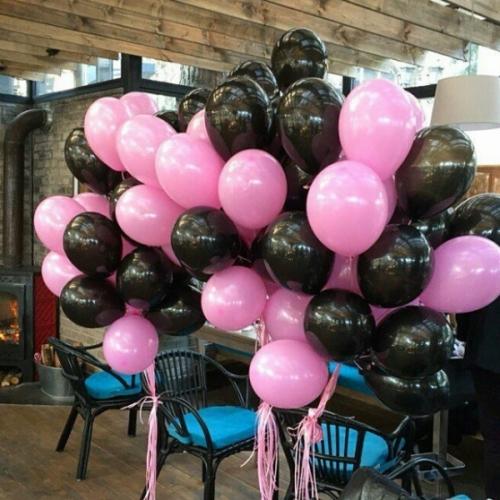 """Композиция """"Глазурь"""" из 100 шаров в черно-розовой гамме - фото 1"""