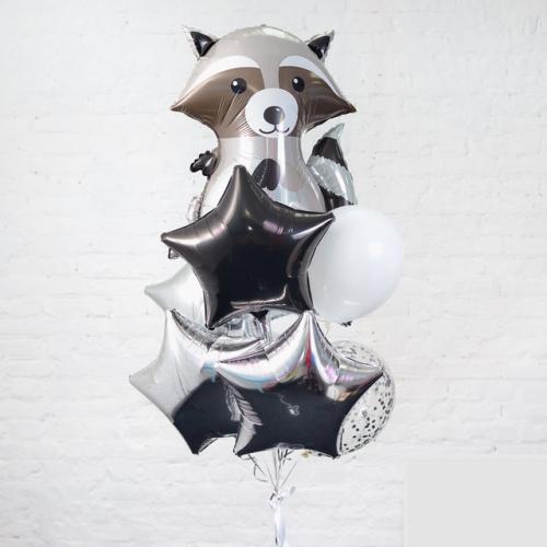 """Композиция из шаров """"Стальной Енот"""" в серебрянных тонах - фото 1"""