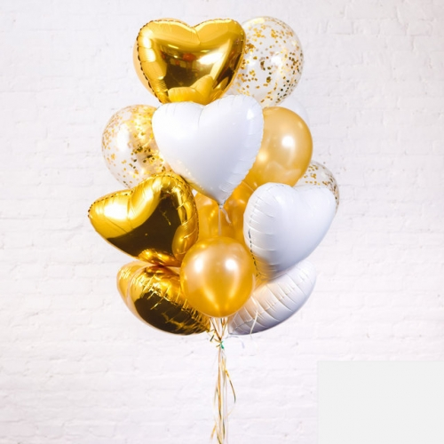 "Набор ""Биение сердца"" из шаров в цвете золота - фото 1"