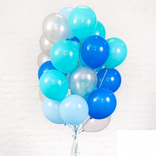 Букет шаров в сине-голубой палитре - фото 1
