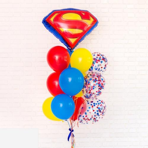 """Композиция """"Супермен"""" из цветных гелиевых шариков в подарок - фото 1"""