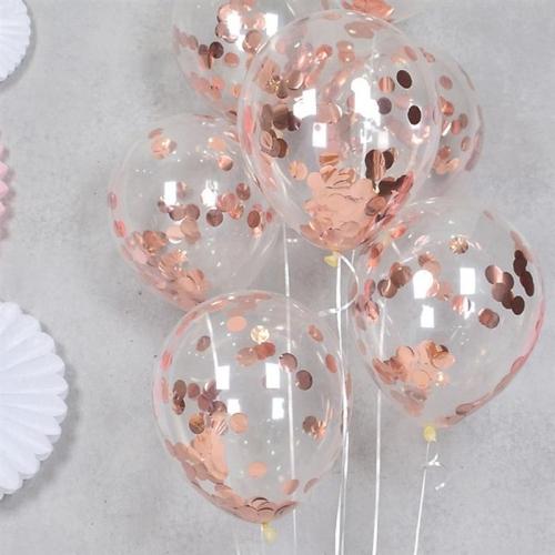 Воздушные шары с конфетти  розовое золото - фото 1