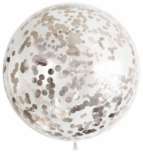 Большой прозрачный шар с конфетти серебрянного цвета - фото 1